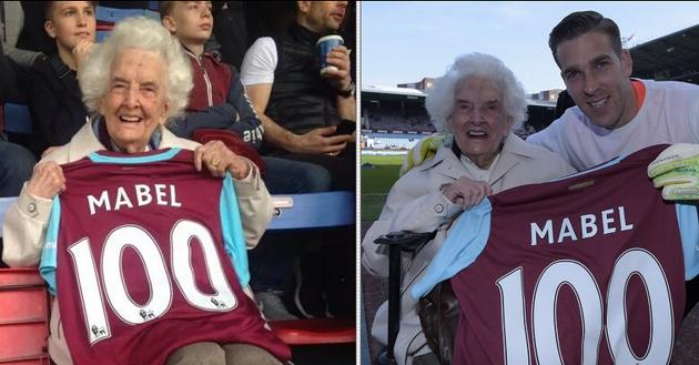 Mabel Arnold 100 jaar en 82 jaar seizoenkaarthouder van West Ham United