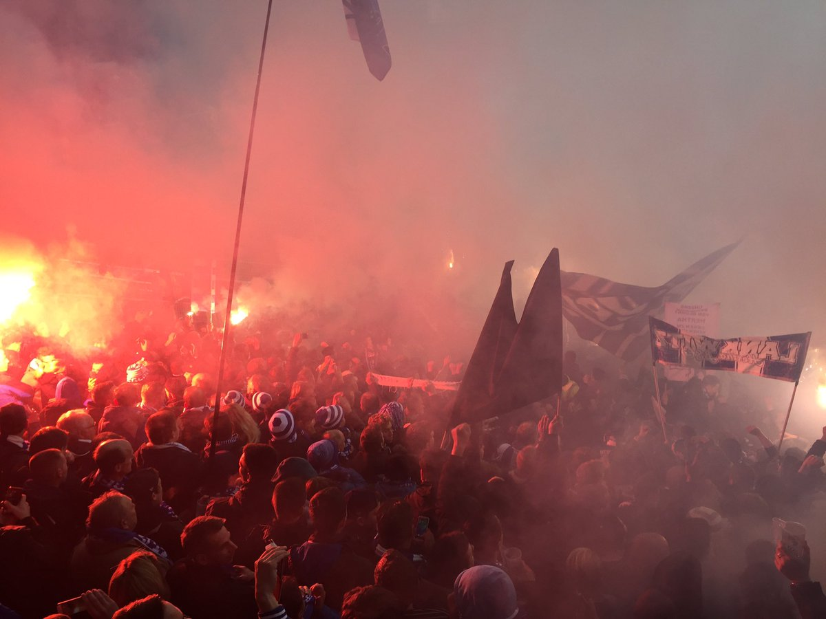 Hertha BSC in Hamburg, foto van Twitter
