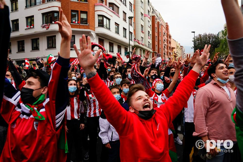Supporters van Bilboa voor de finale tegen Real Sociedad